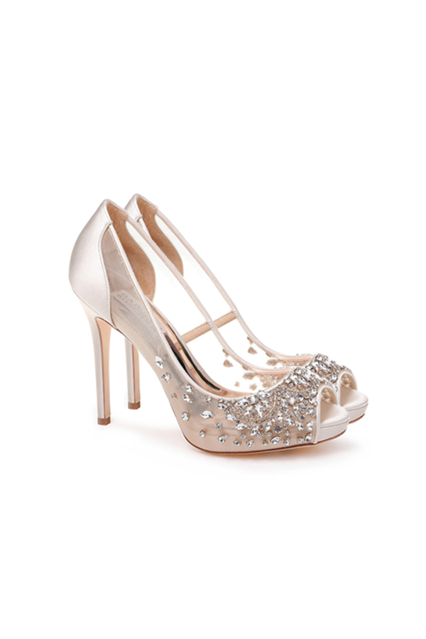 [SELL][ PEPPER EMBELLISHED EVENING SHOE-LATTE]by BADGLEY MISCHKA