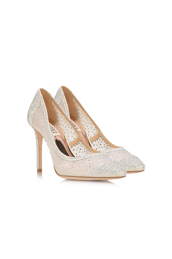 [SELL][WESLEE CRYSTAL EMBELLISHED EVENING SHOE-Ivory]by BADGLEY MISCHKA
