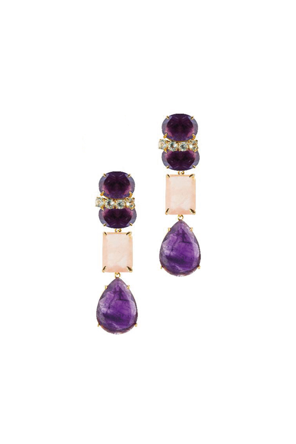[RENTAL][Amethyst,Blue Quartz & Rose Quartz 4in1 Earrings]by Bounkit