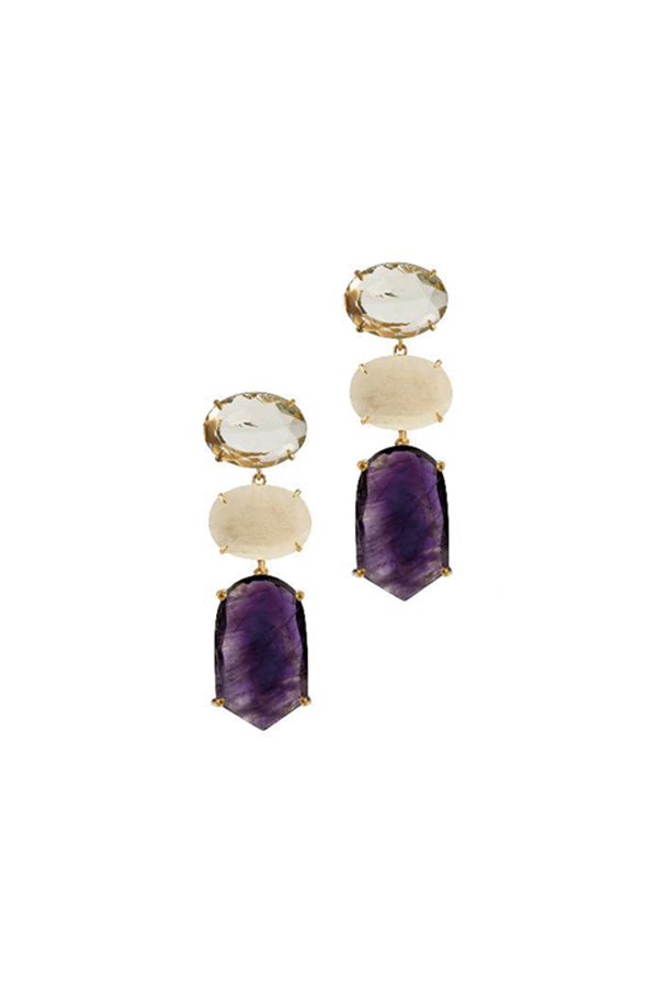 [RENTAL][Green Amethyst,Moonstone & Amethyst 4in1 Earrings]by Bounkit(参考価格¥67,200)