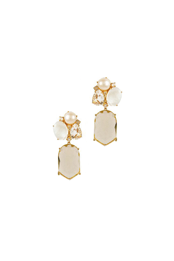 [RENTAL][Mother of Pearl,Moonstone & Lemon Quartz 2in1 Earrings]by Bounkit(参考価格¥72,240)
