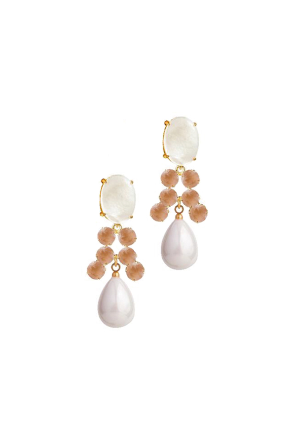 [RENTAL][Mother of Pearl,Rose Quartz & Shell Drop 4in1 Earrings]by Bounkit(参考価格¥40,320)