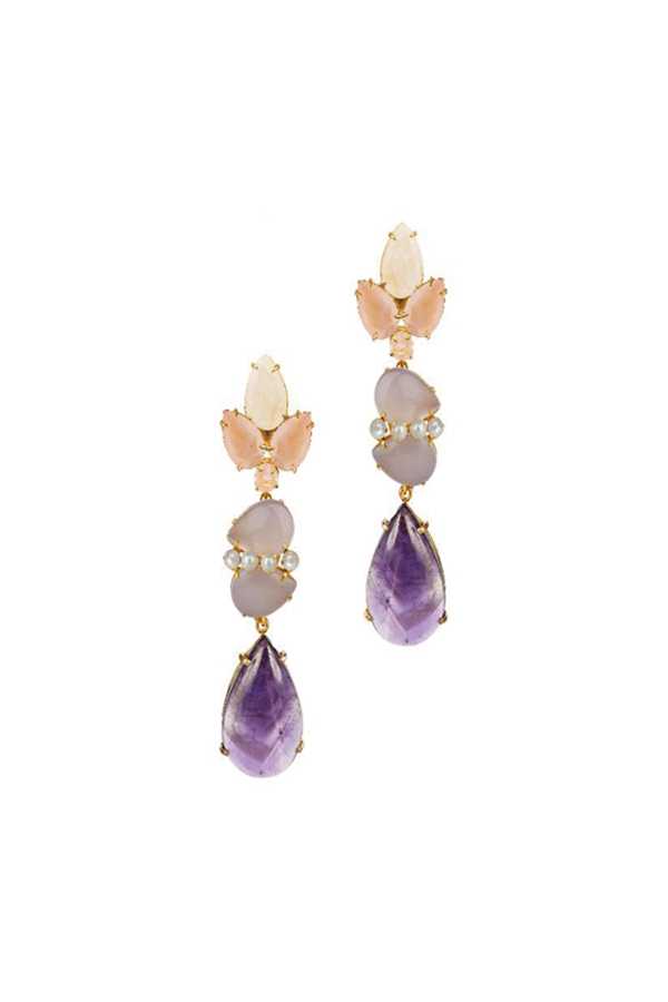 [RENTAL][Rose Quartz,Chalcedony,Pearl & Amethyst 4in1 Earrings]by Bounkit(参考価格¥53,760)