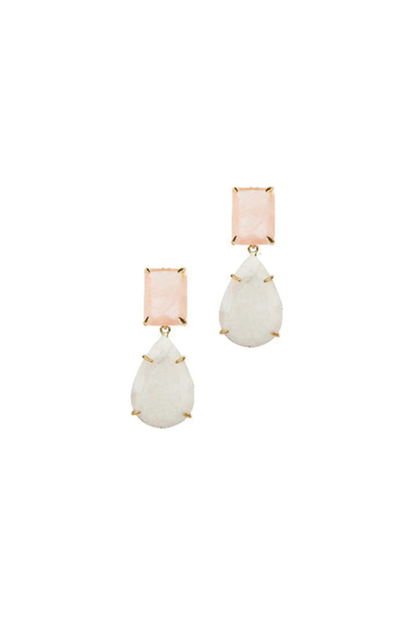 [RENTAL][Rose Quartz & Moonstone 2in1 Earrings]by Bounkit