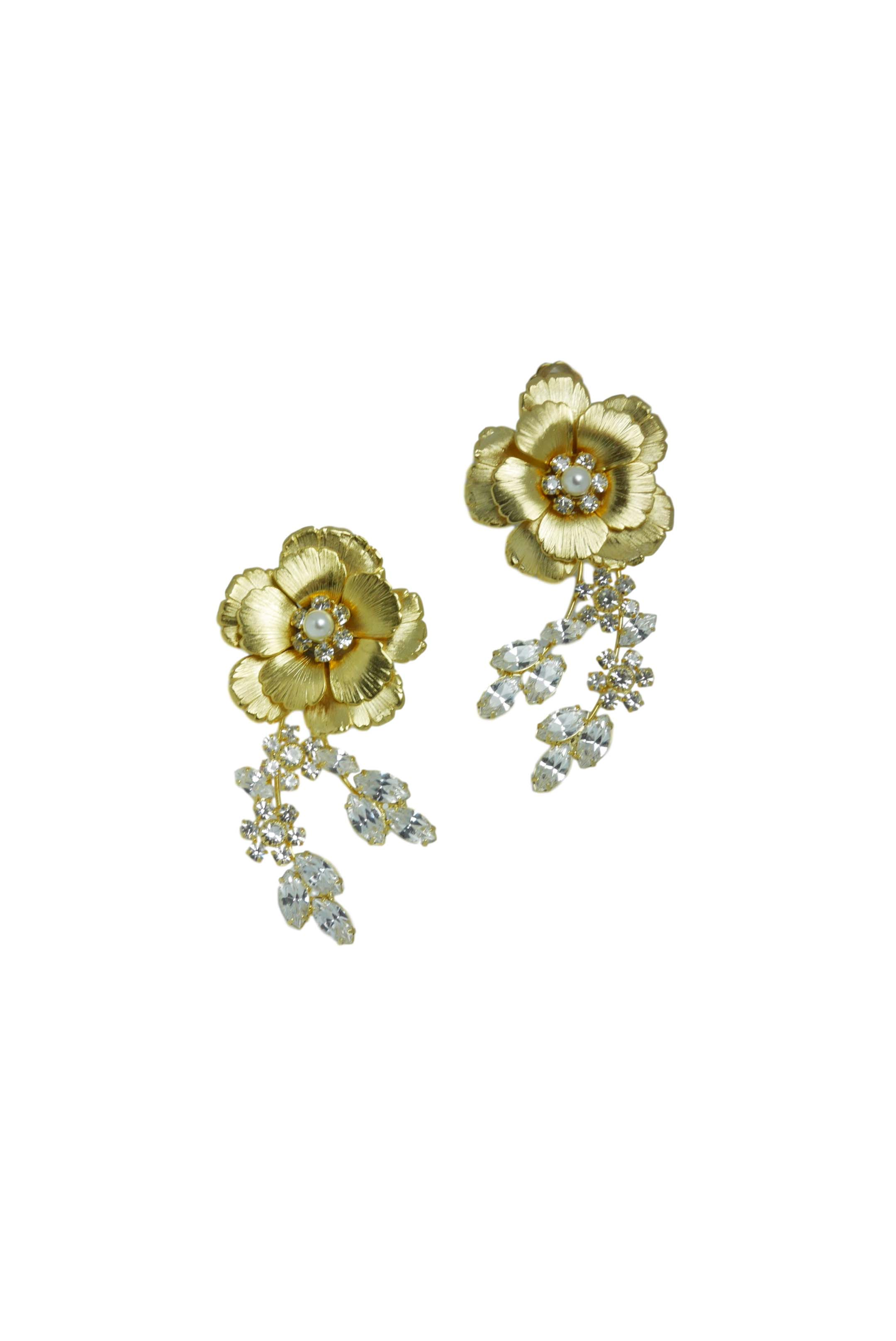 [RENTAL][Gold Flower Earrings]by Ti Adoro Jewelry(参考価格¥32,400)