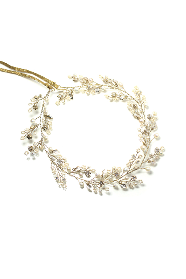 [RENTAL][Dainty beaded fern leaf hair vine -gold-]Twigs & Honey