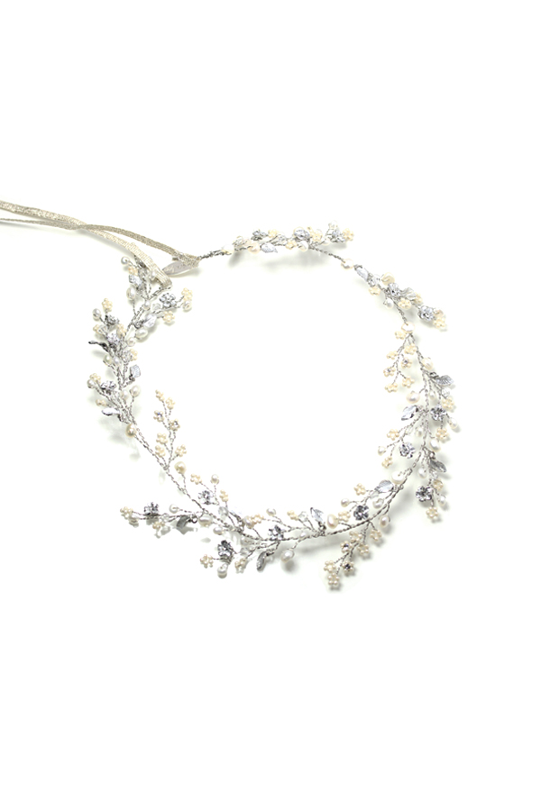 [RENTAL][Dainty beaded fern leaf hair vine -silver-]Twigs & Honey