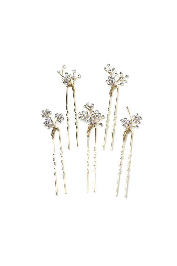 [RENTAL][Dainty rhinestone blossom hair pin set of 5 Gold]Twigs & Honey