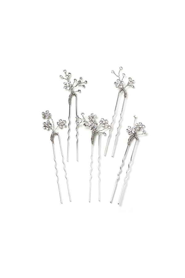 [RENTAL][Dainty rhinestone blossom hair pin set of 5 Silver]Twigs & Honey